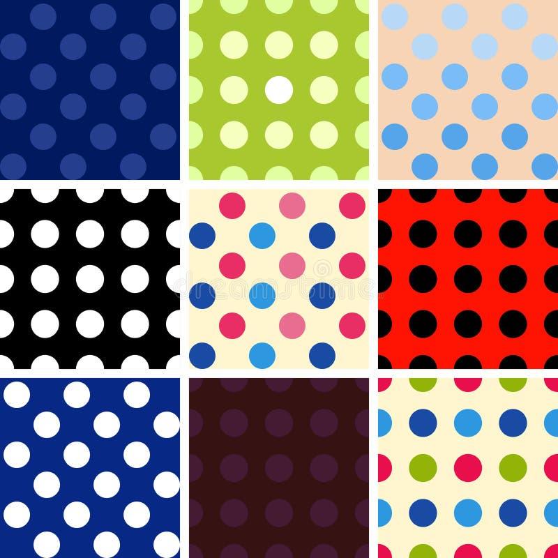 Polka dot background set vector illustration