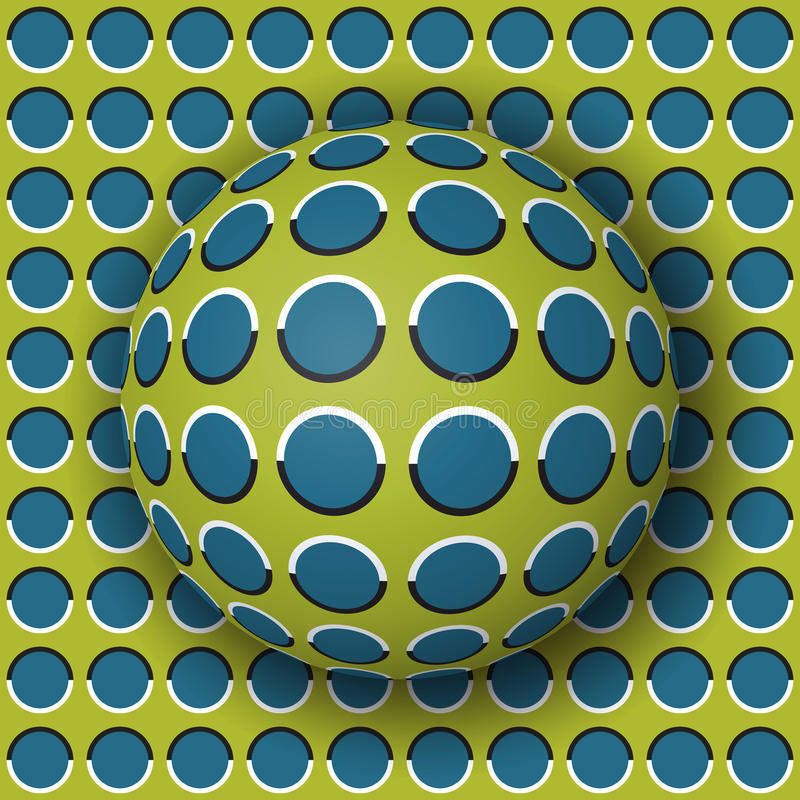 Polka dot ball rolling along the polka dot surface. Abstract vector optical illusion illustration. Extravagant background and tile of seamless wallpaper royalty free illustration