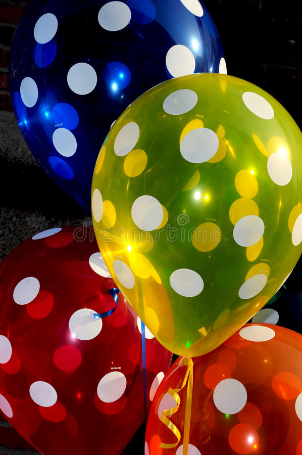 Polka dot balloons. Colorful polka dot balloons on display stock image