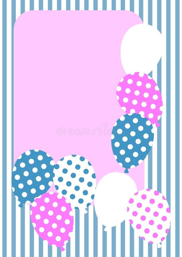 Polka dot balloons invitation card royalty free illustration