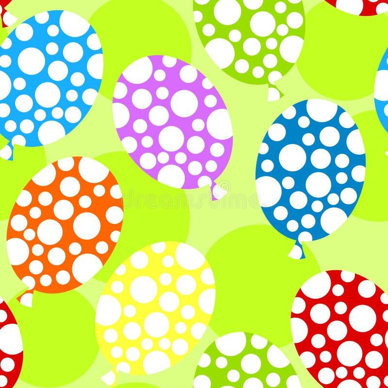 Polka dot balloons seamless background stock illustration