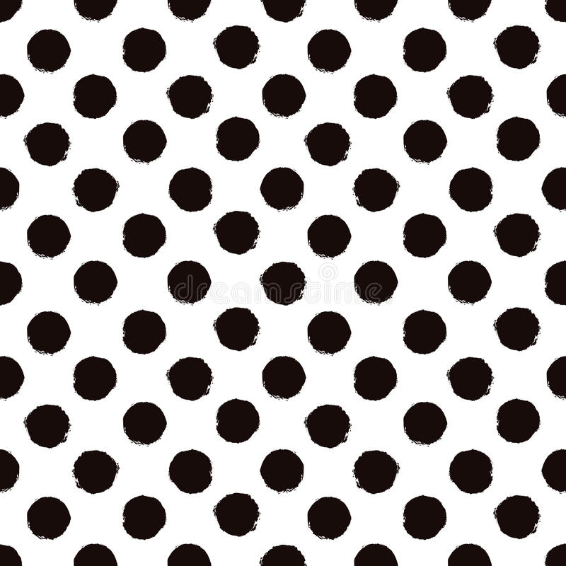 Polka dot black and white painted seamless pattern royalty free illustration