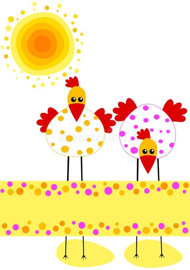 Polka Dot Chikens Easter Card royalty free illustration