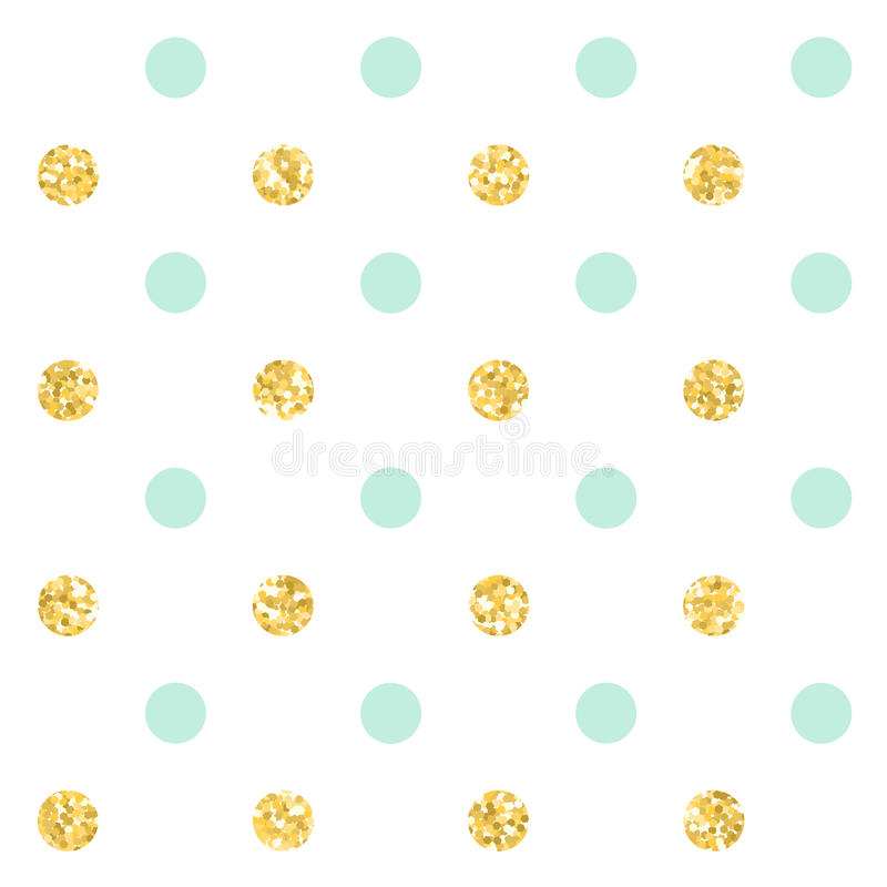 Polka dot. Classic dotted seamless gold glitter pattern. Vector illustration stock illustration