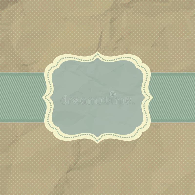 Polka dot design, brown vintage frame. EPS 8 stock illustration