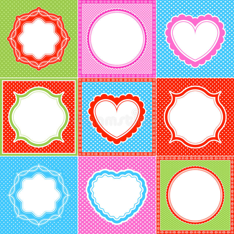 polka dot frame pattern heart collections royalty free illustration