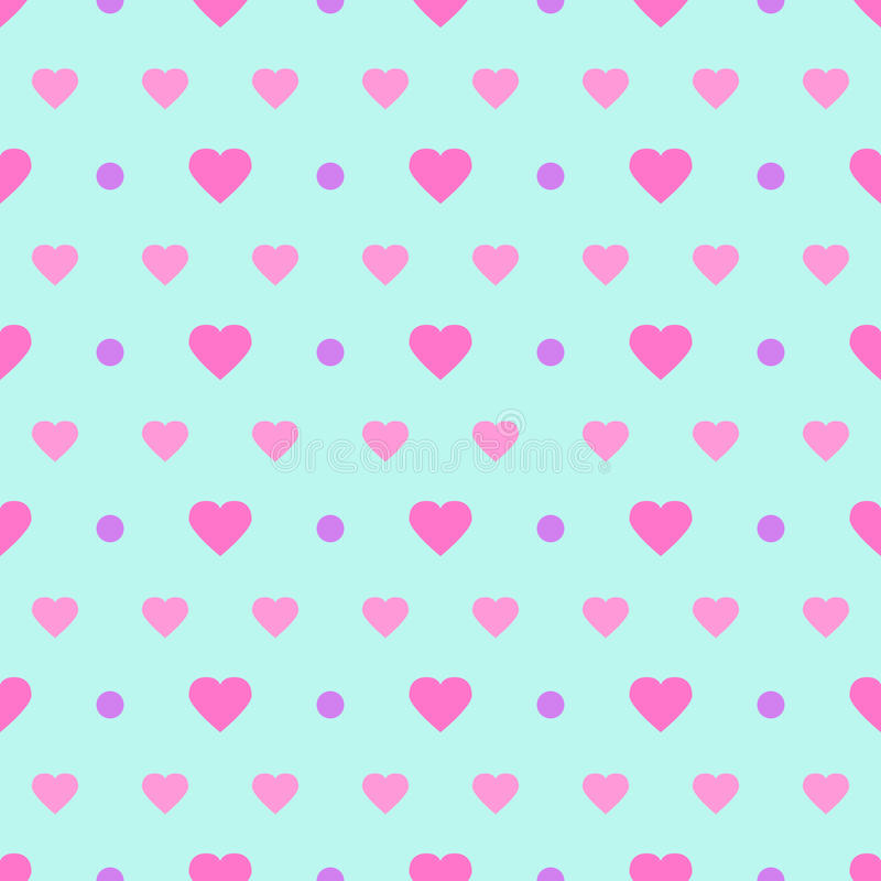 Polka Dot & Hearts. Seamless background with abstract hearts vector illustration