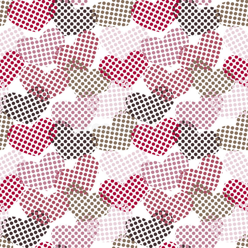 Polka dot hearts seamless pattern stock image