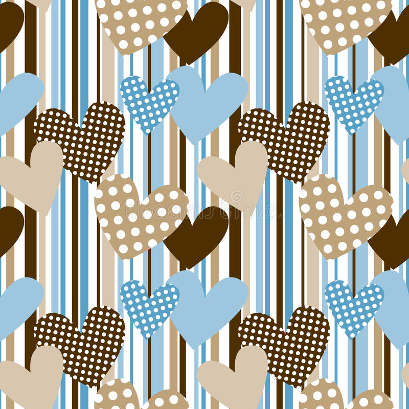 Polka dot hearts in stripes seamless background. Patterned hearts background. Seamless pattern vector illustration