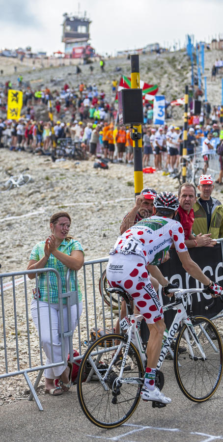 Polka Dot Jersey Su Mont Ventoux Immagine Stock Editoriale