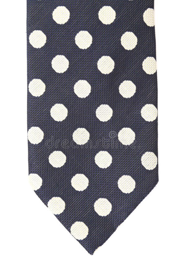 Polka dot necktie. Vertical. Close up. Polka dot necktie. Vertical. Isolated on a white background royalty free stock images