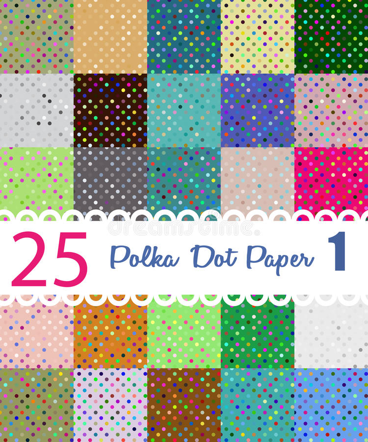 Polka Dot Paper Ensemble de 25 modèles de seamess illustration de vecteur