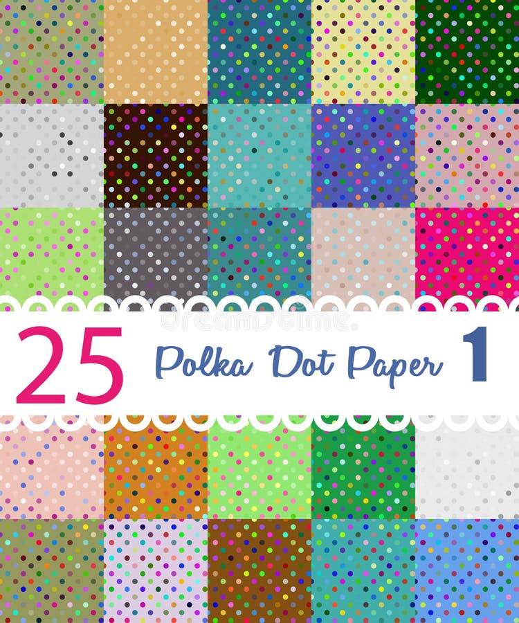 Polka Dot Paper Reeks van 25 seamesspatronen vector illustratie