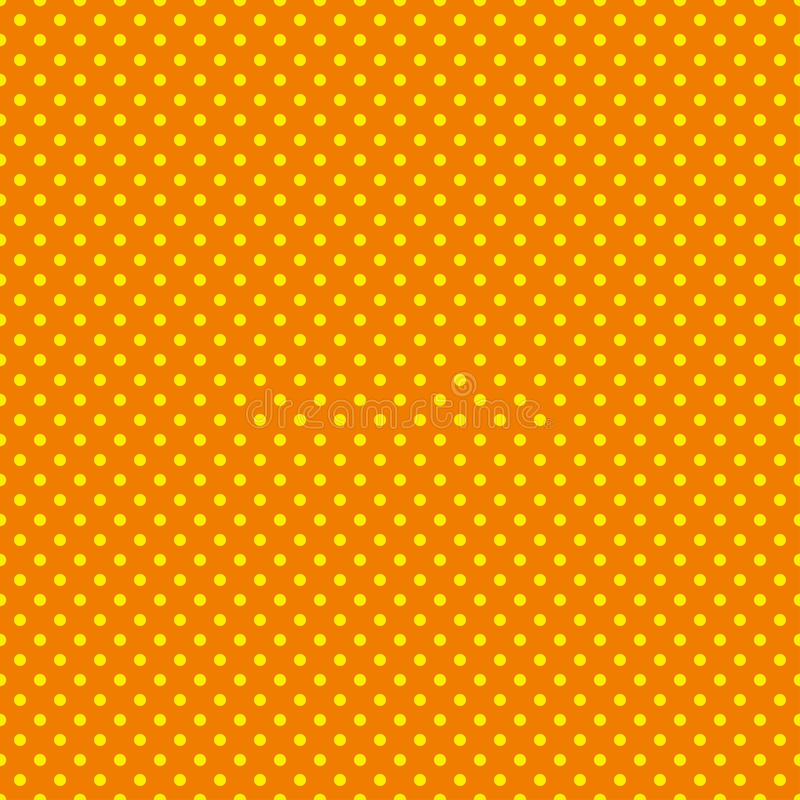 The polka dot pattern. Seamless vector illustration with round circles, dots. Yellow and orange. royalty free illustration