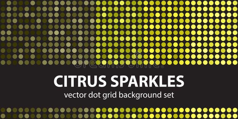 Polka dot pattern set Citrus Sparkles. Vector seamless geometric stock illustration