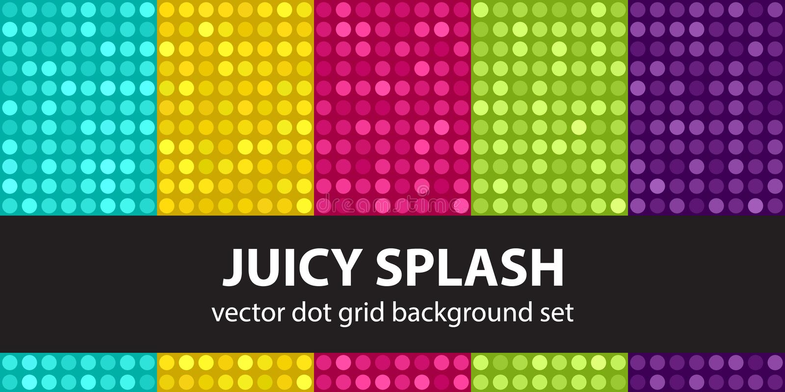 Polka dot pattern set Juicy Splash. Vector seamless dot backgrounds with cyan, yellow, rose, green, violet circles on multicolor backdrops royalty free illustration
