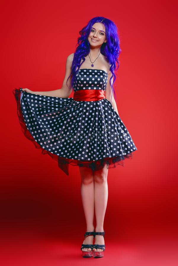 Polka-dot pin-up dress royalty free stock photo