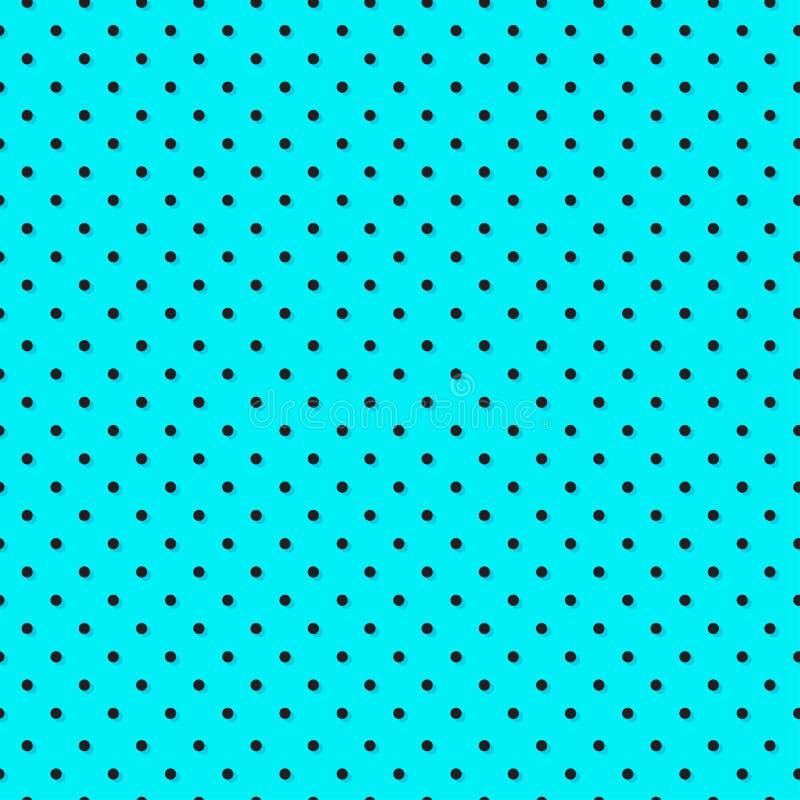 Polka dot seamless pattern, azure and black colors. Vector. Illustration vector illustration