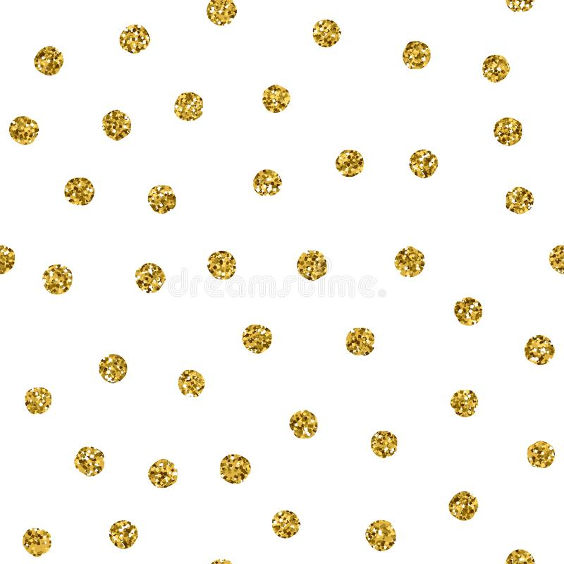 Polka dot seamless pattern with gold glitter spot. Vector chaotic golden texture with glint points isolated on white vector illustration