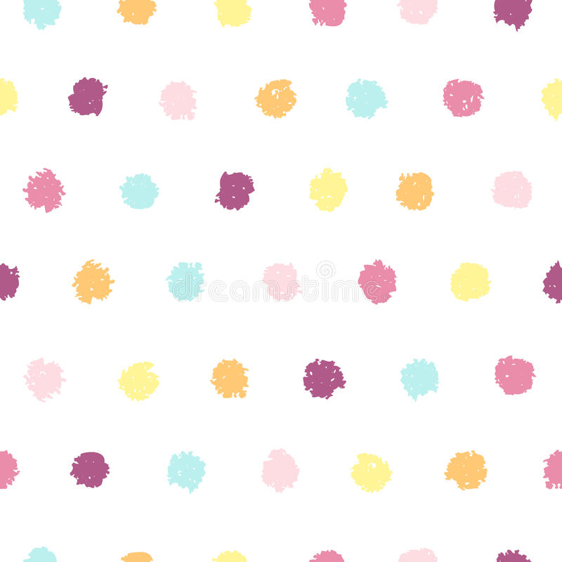 Polka dot seamless pattern. Hand painted oil pastel crayon. Design element for printables, wallpapers, baby shower invitation, birthday card, scrapbooking stock illustration