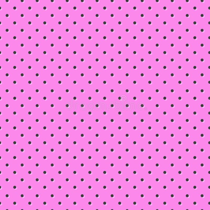 Polka dot seamless pattern, pink and black colors. Vector. Illustration royalty free illustration