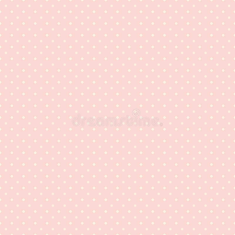 Polka dot seamless pattern. White dots on pink background. Good for design of wrapping paper, wedding invitation and greeting card stock illustration