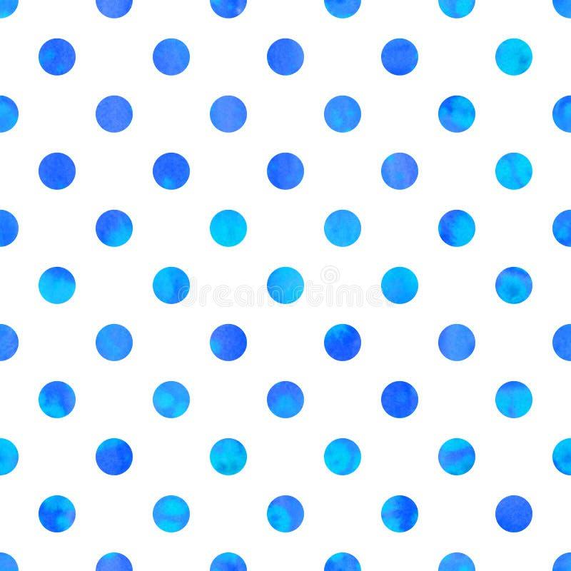 Polka Dot Seamless Texture Bl?a vattenf?rgcirklar vektor illustrationer