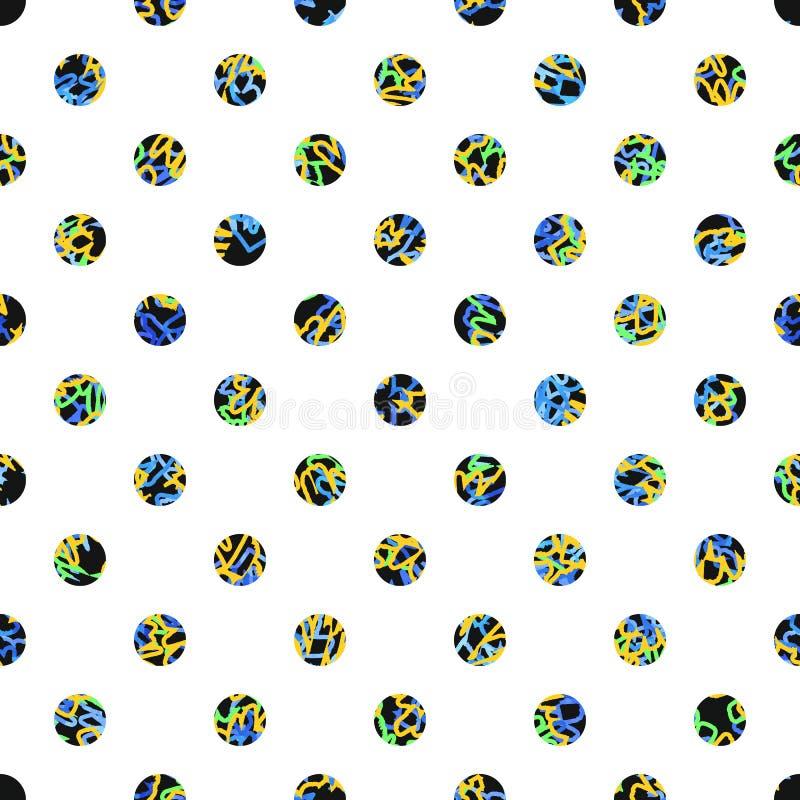 Polka Dot Seamless Texture Taches noires avec les lignes colorées illustration de vecteur