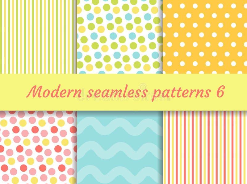 Polka dot, strips wave seamless pattern set. Digital Paper collection, modern style. Scrapbooking Kit. Vector stock illustration