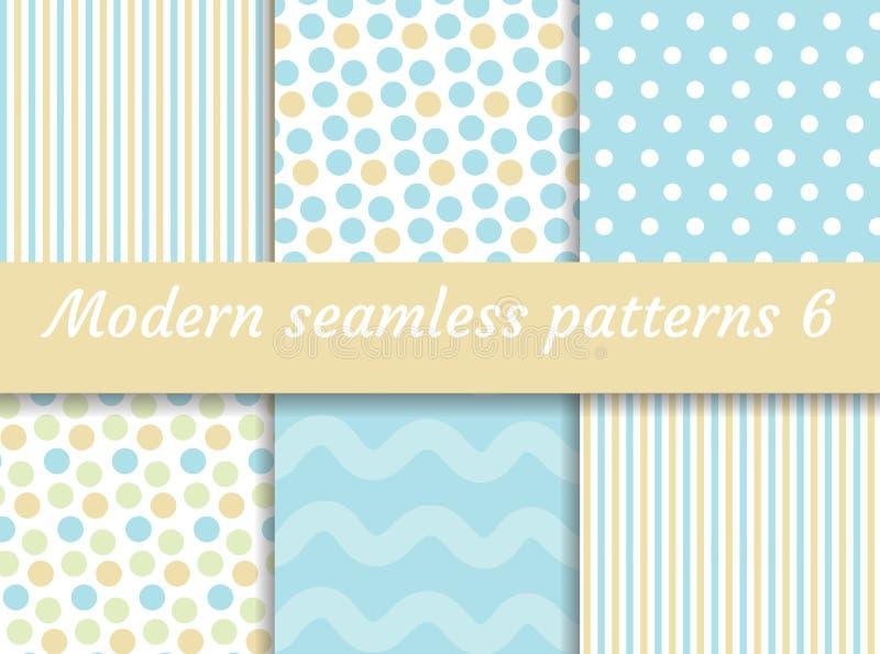 Polka dot, strips wave seamless pattern set. Digital Paper collection, modern style. Scrapbooking Kit. Vector vector illustration