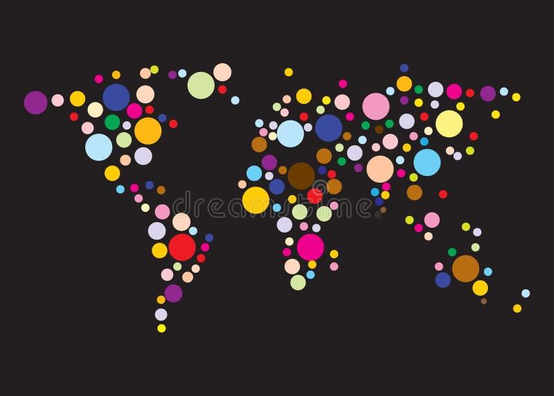 World map colorful dot circle black background stock illustration