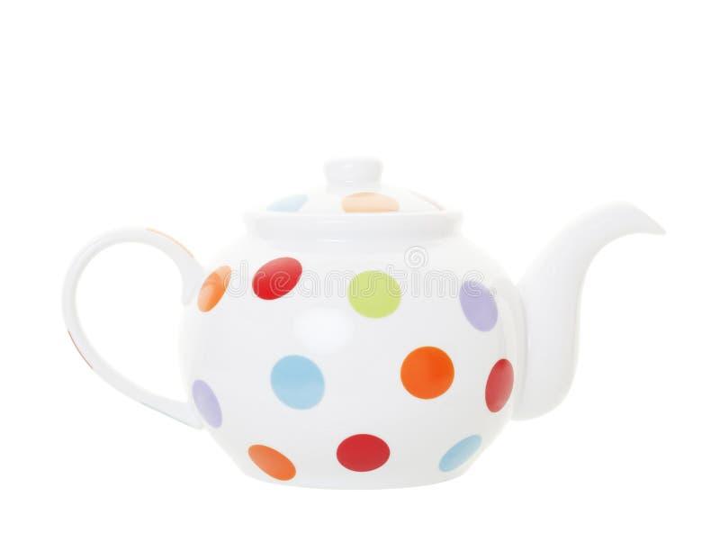 Polka Dot Teapot met het Knippen van Weg royalty-vrije stock afbeelding