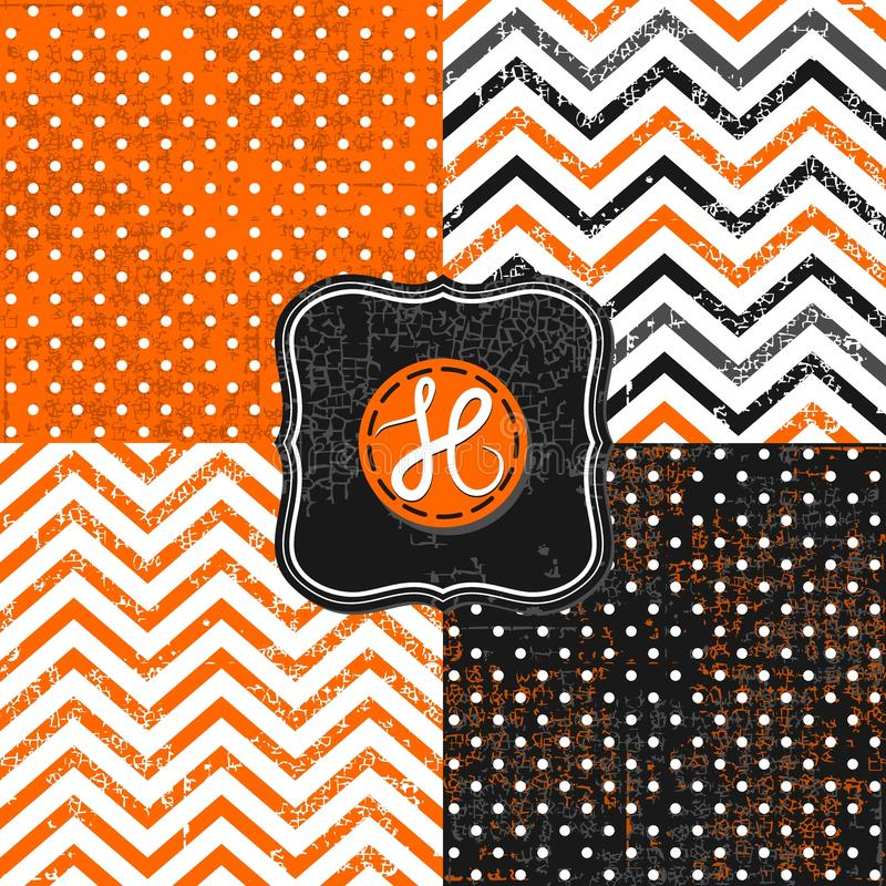 Polka dots and chevron black white orange paper se royalty free stock image