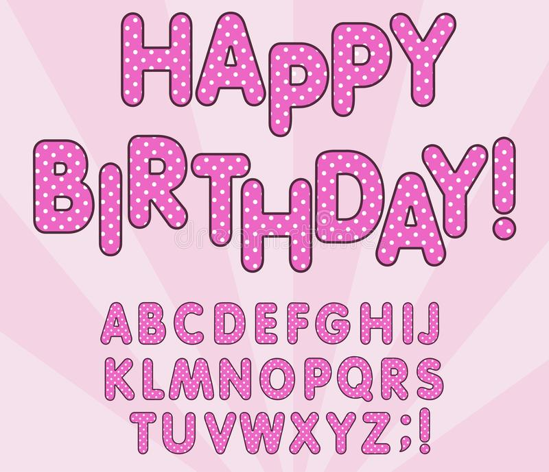 Polka dots 3D english alphabet letters set. LOL girly doll, Happy birthday banner, surprise style design. Vector stock illustration