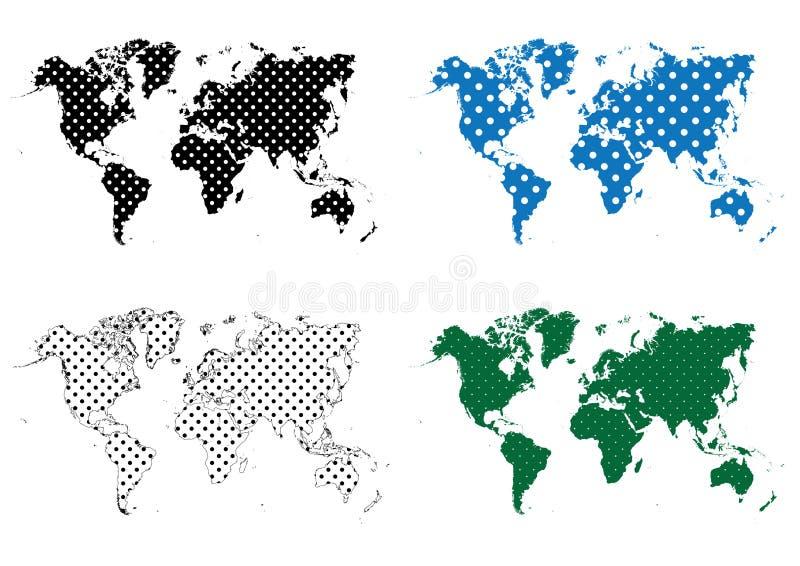 Polka Dots Dotted Pattern World Map stock illustrationer
