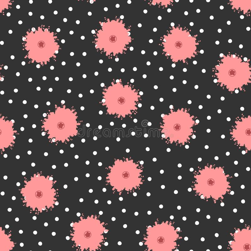 Polka dots and flowers painted with brush. Cute floral seamless pattern. royalty free illustration