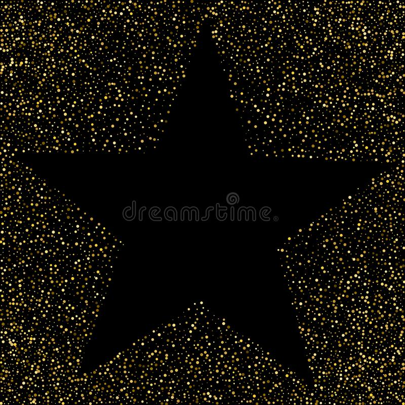 Polka dots golden star holiday background. Vector.  stock illustration