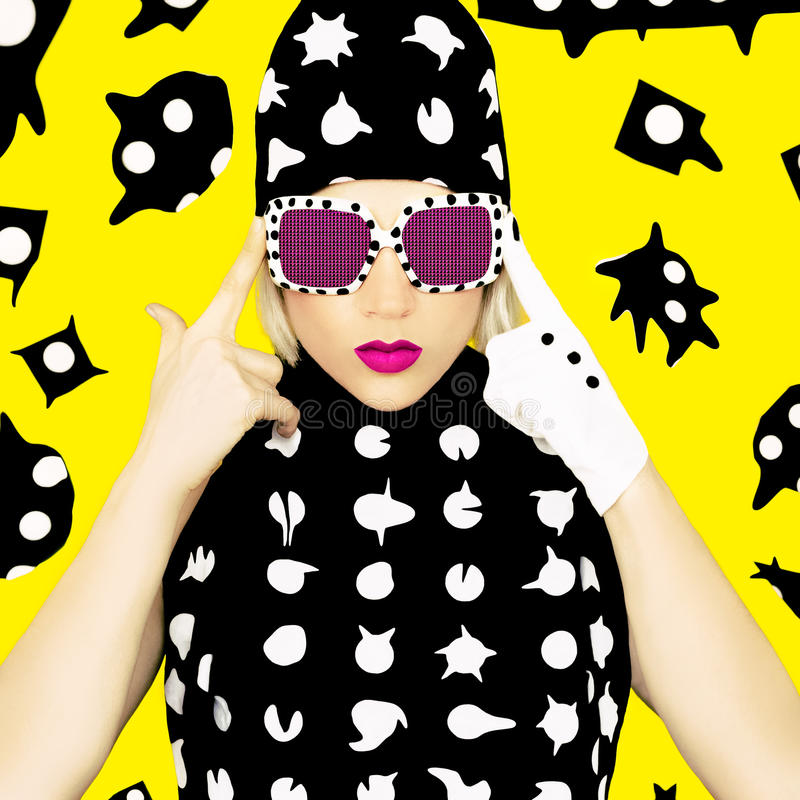 Polka Dots Monster Girl. stock photography