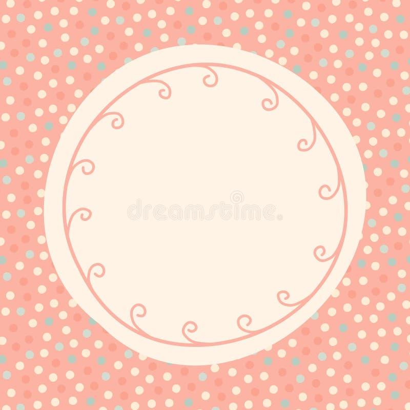 Polka dots round invitation card stock image