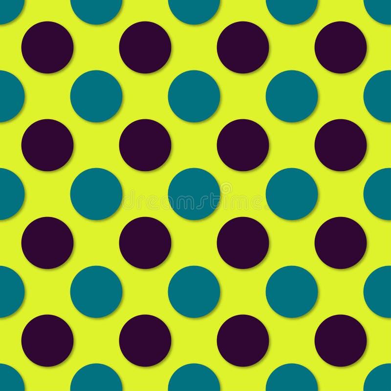 Polka dots seamless pattern. 3d vector background. Retro style print.  stock illustration