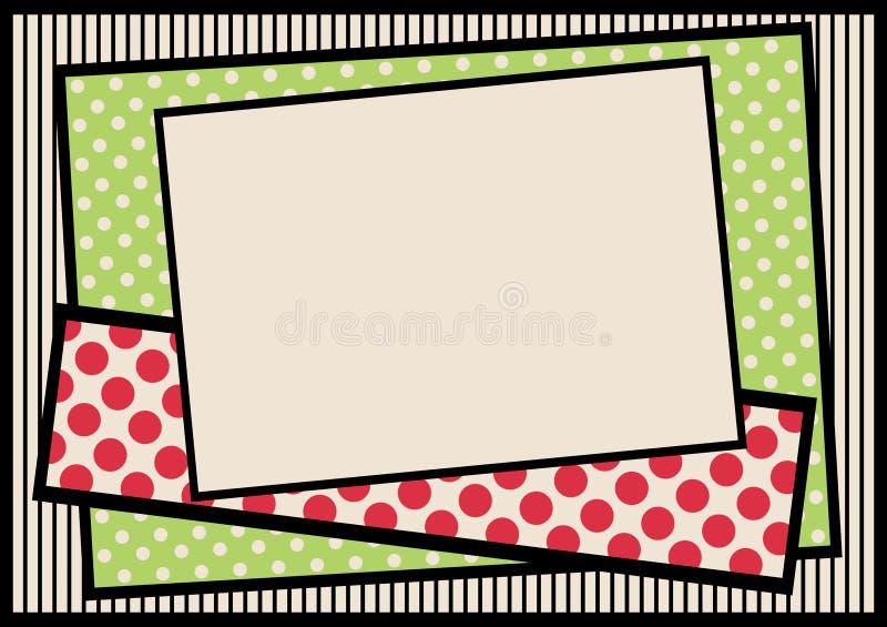 Polka dots and stripes border frame stock image