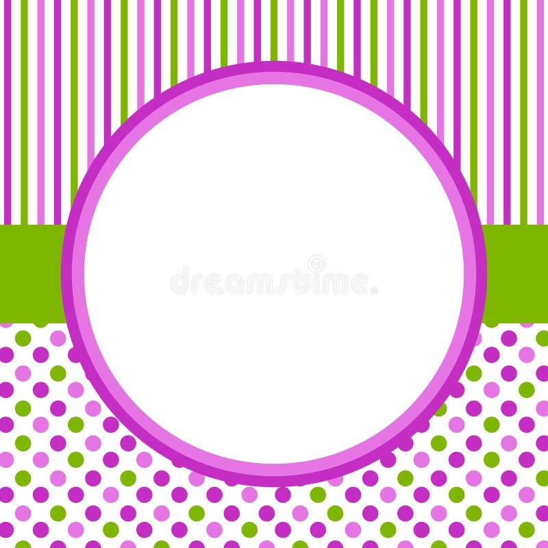 Polka dots and stripes circular border frame royalty free illustration