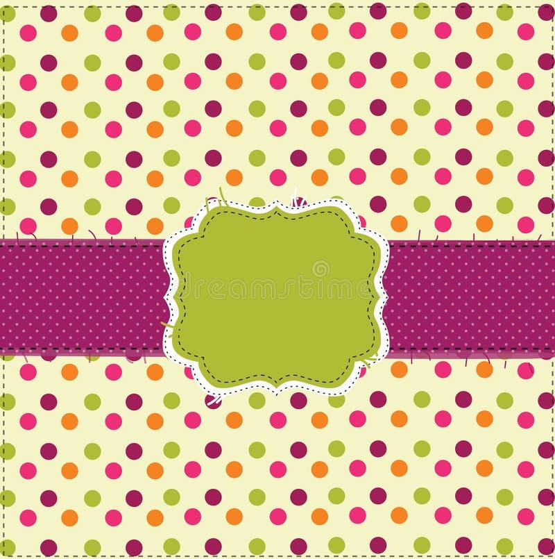 polka för patchwork för prick för kortdesign stock illustrationer
