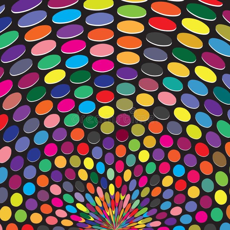 Polka geometrica variopinta Dots Sun Burst Background Texture dell'estratto illustrazione di stock
