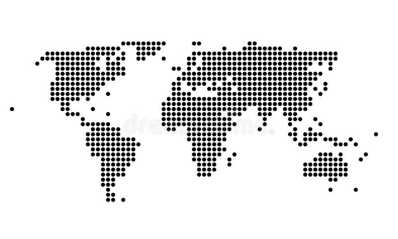Polka gestippelde kaart van de wereld royalty-vrije illustratie