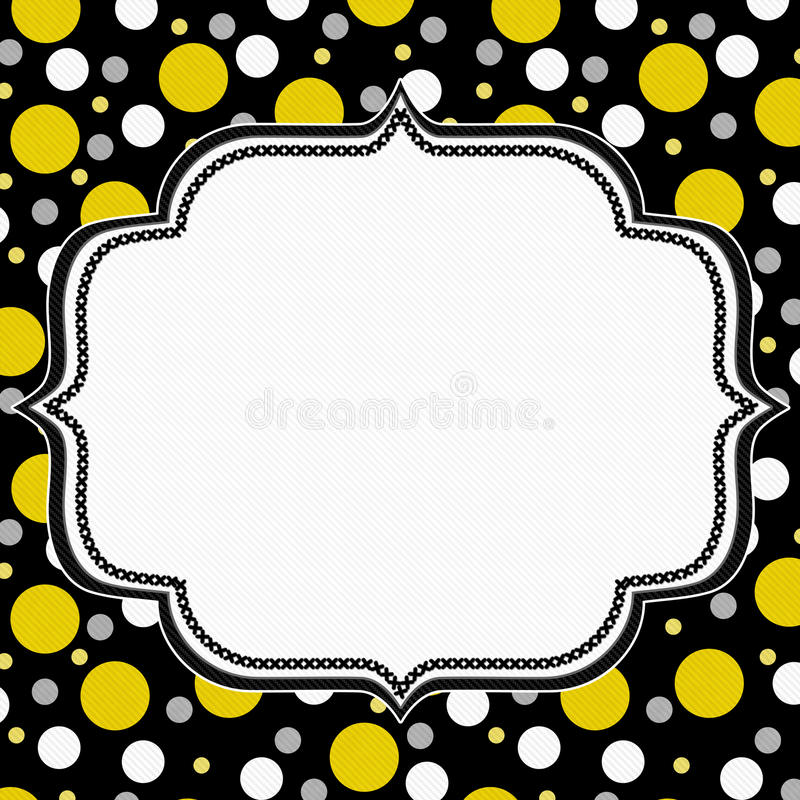 Polka jaune, blanche et noire Dot Frame Background illustration libre de droits