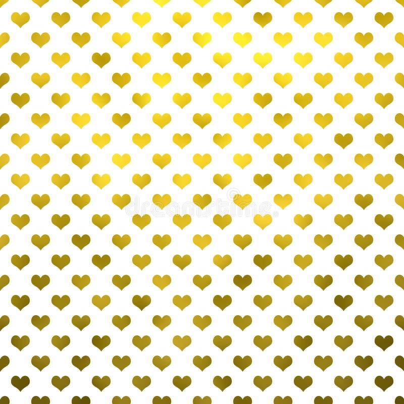 Polka métallique Dot Pattern Hearts White Background de coeurs d'or illustration stock