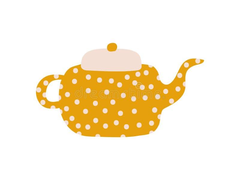 Polka sveglia Dot Teapot con il becco, illustrazione ceramica di vettore delle terrecotte illustrazione vettoriale