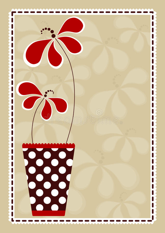 Polka Vase With Flowers Invitation Card. Invitation card with red flowers and a polka dot vase vector illustration
