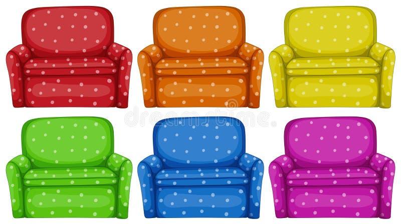 Polkadots sofa in six colors. Illustration stock illustration
